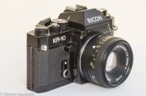 Ricoh KR-10 35mm SLR side view showing self timer and lens release