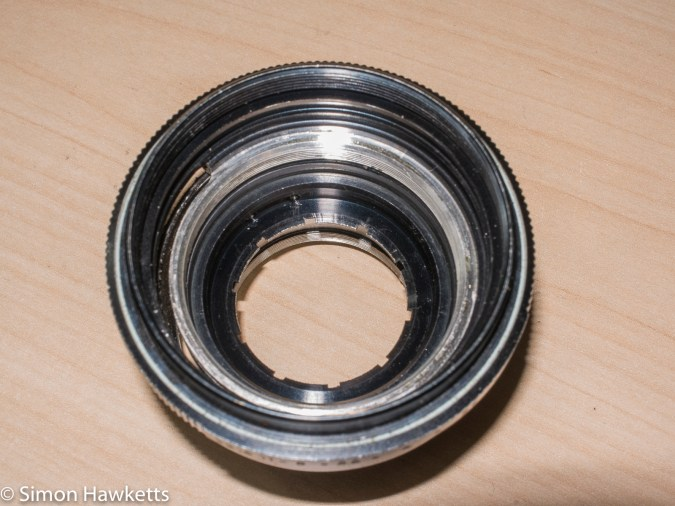 Auto Takumar 55mm f/2.2 strip down - Front of lens with the aperture blades removed
