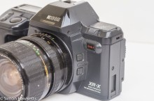 Ricoh XR-X 35mm manual focus slr side view showing AE lock and DOF preview
