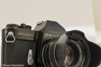 Pentax Spotmatic SPII front view with lens