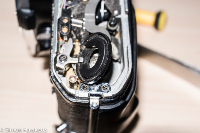 Repairing a Pentax ME - Removing the plastic disk on the motor drive shaft of the Pentax Super Program