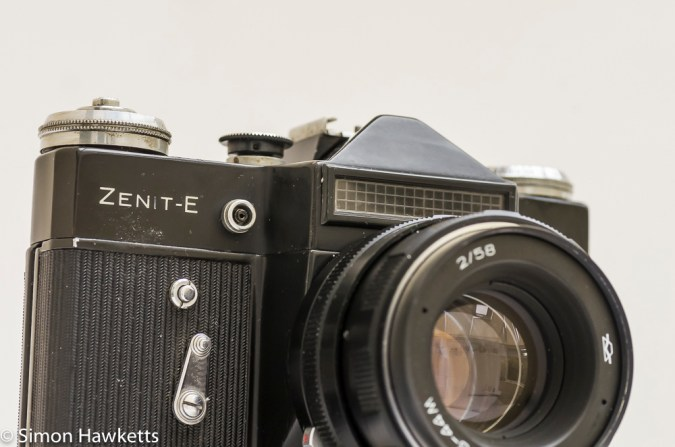 Zenit E 35mm slr fitted with Helios 44M lens
