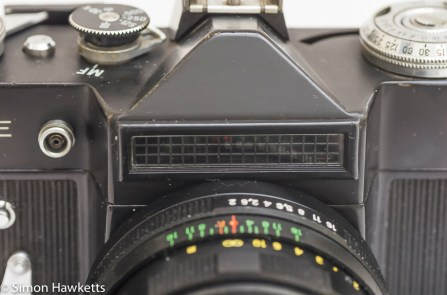 The Light meter sensor mounted on the front of the prism housing - Zenit E