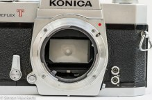Konica Autoreflex T2 35mm slr front view with lens removed showing konica bayonet mount
