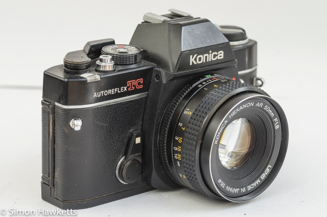 Konica Autoreflex TC side view showing self timer lever
