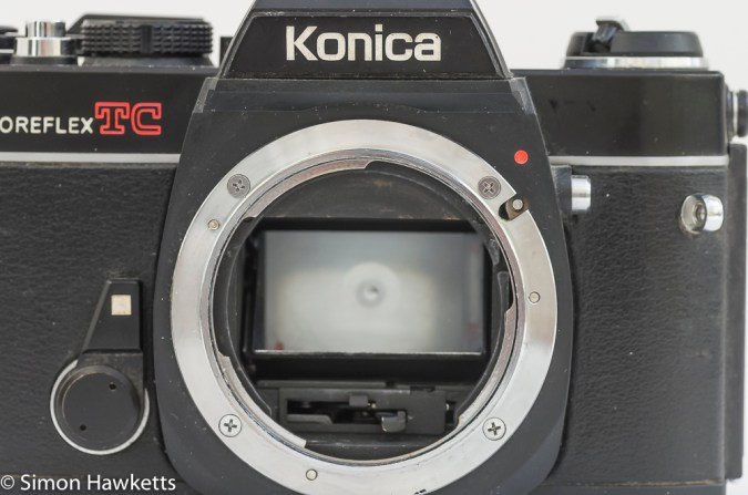 Konica Autoreflex TC without lens showing konica lens mount and mirror