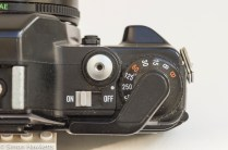Konica TC-X shutter speed, on/off switch and shutter release detail picture