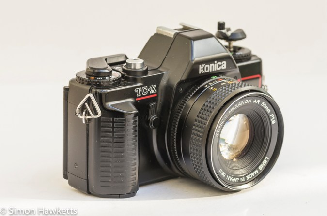 Konica TC-X side view showing self timer
