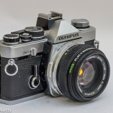 Olympus OM-2 35mm slr - side view showing self timer and shutter speed control
