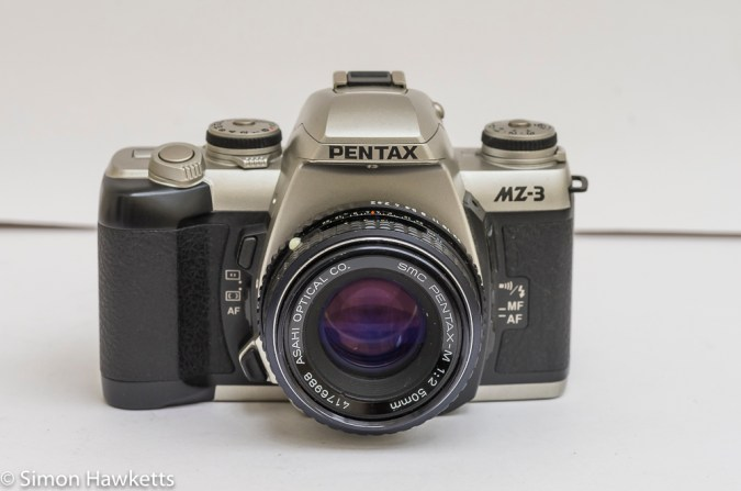 Pentax MZ-3 35mm autofocus camera with manual focus lens fitted