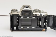 Pentax MZ-3 with data back open showing film chamber