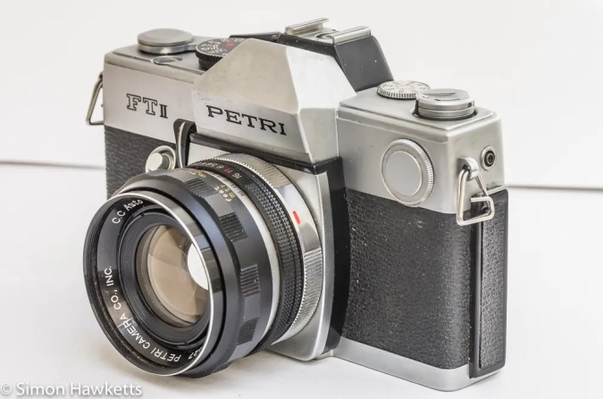 Petri FTII side view showing battery compartment and breech lock ring