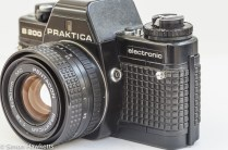 Praktica B200 side view showing flash sync socket