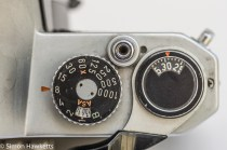 Shutter speed, frame counter and shutter release on the Pentax K1000