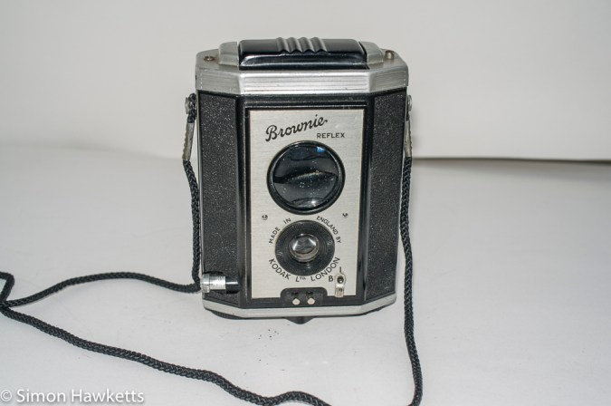 Kodak Brownie Reflex camera with viewscreen folded down