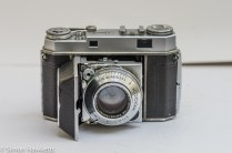 Kodak Retina IIa 35mm rangefinder camera front view with the lens cover open
