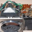 Konica Autoreflex T2 top cover removal - prism and exposure system under the cover