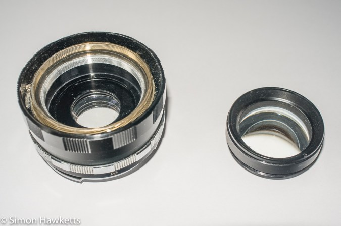 Petri 55mm f/2 CC lens with front lens element removed