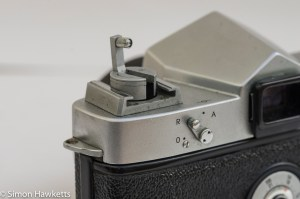 Yashica Pentamatic 35mm slr rewind crank in pop up position