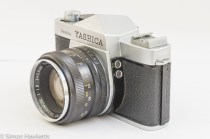 Yashica Pentamatic 35mm slr side view showing flash sync sockets