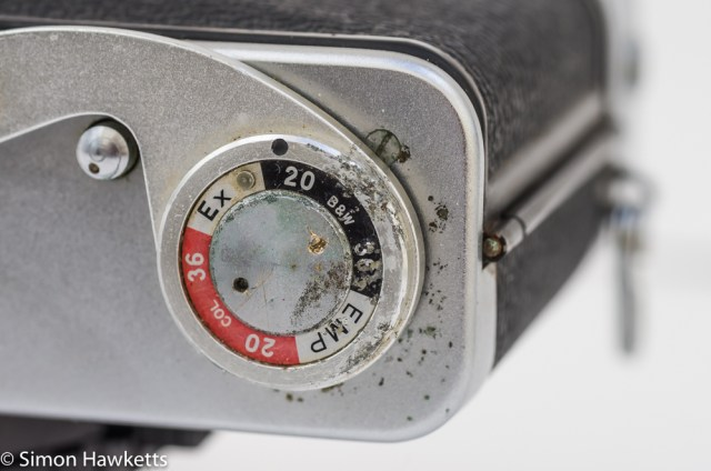 Fujica 35 SE 35mm rangefinder camera - damage and corrosion on the film advance lever