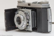 Kodak Retinette Type 017 35mm folding camera - side view showing aperture, shutter speed and focus