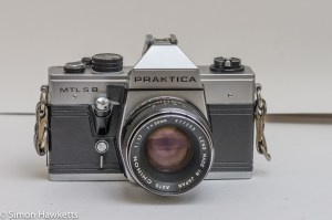 Praktica MTL 5B 35mm slr camera - front view with a Chinon 55mm f/1.7 lens fitted