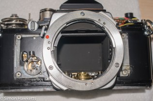 Olympus OM-1n strip down - front covering removed