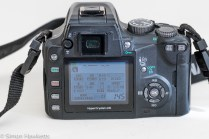 Olympus evolt E500 dslr - rear view with LCD on