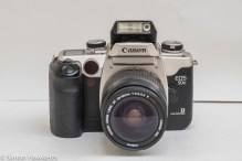 Canon EOS 50e 35mm autofocus camera - front of camera with flash up