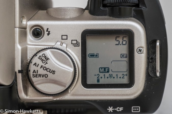 Canon EOS 50e 35mm autofocus camera - LCD control panel data display