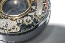 Kodak Retina IIc compur synchro shutter stip down - detail of the compur synchro shutter blade actuation mechanism
