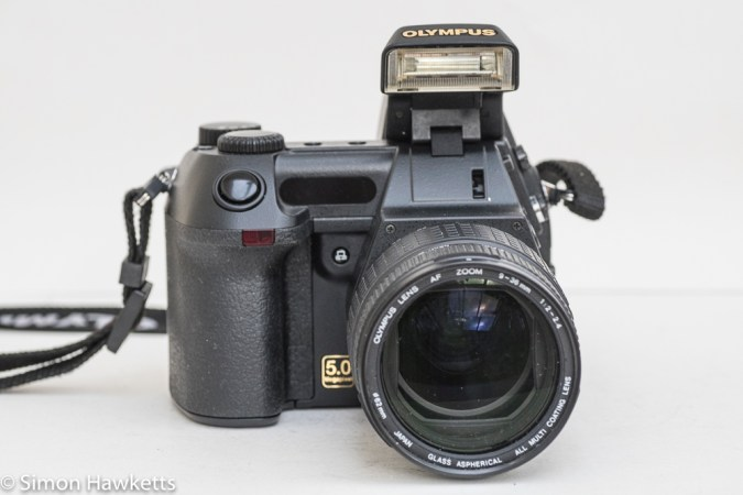 Olympus Camedia E-20p DSLR - front view with Flash raised