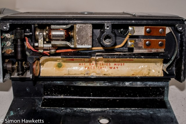 Bell & Howell 200EE cine camera - battery compartment