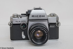 Ricoh TLS 401 35mm slr - front view with 50mm f/2 Rikenon lens