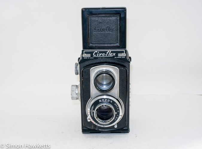 Ciro-Flex medium format twin lens reflex camera - Front view with viewfinder up