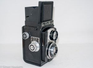 Ciro-Flex medium format twin lens reflex camera - Side view showing focus and film advance knobs