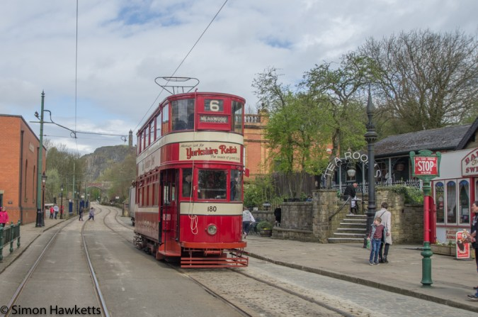 Crich tramway museum - tram arriving at pickup point
