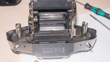 Exakta Exa 500 shutter removed from body