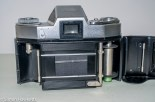 Exakta Exa II 35mm slr camera - film door open showing first curtain position
