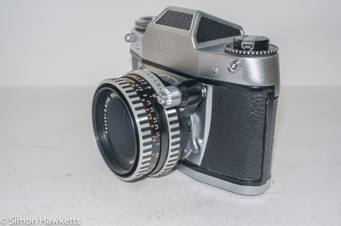 Exakta Exa 500 35mm film camera - side view showing shutter release