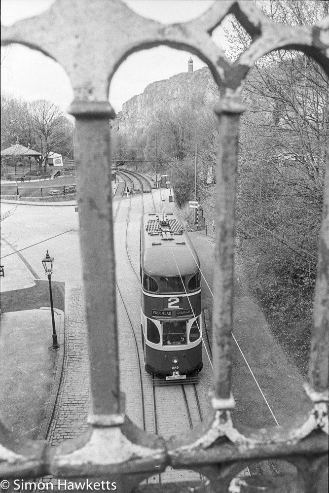 Pentax MZ-3 and Ilford HP5+ - Looking down on trams through gate