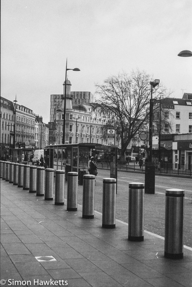 Pentax Program A sample pictures - Bollards at Kings Cross Station