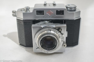 Agfa Karat IV 35mm rangefinder camera - front view with lens extended