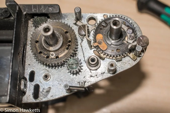 Exakta Varex IIb shutter repair and clean - film advance components removed
