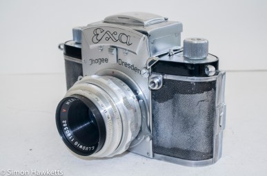 Exakta Exa version 4 - side view showing lens and shutter release