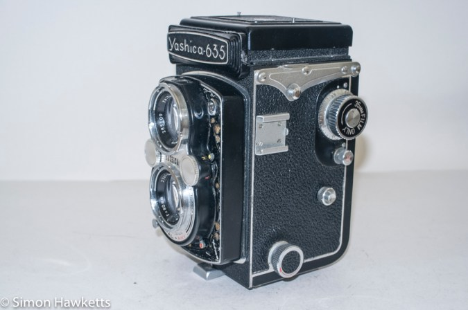 Yashica 635 TLR side view showing 35mm controls