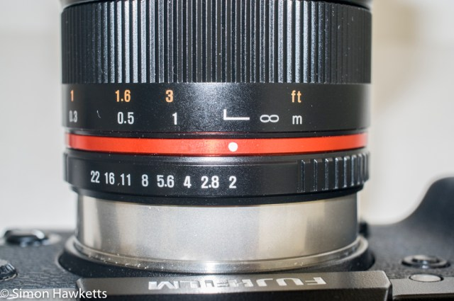 Samyang 12mm f/2 aperture and focus rings