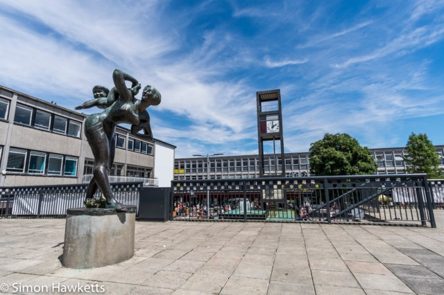 Samyang 12mm f/2 - Picture of Stevenage statue and clock tower