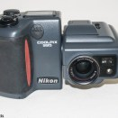 Nikon Coolpix 995 digital camera - Front view with flash down